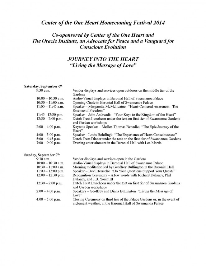 CenteroftheOneHeartHomecomingSchedule2014