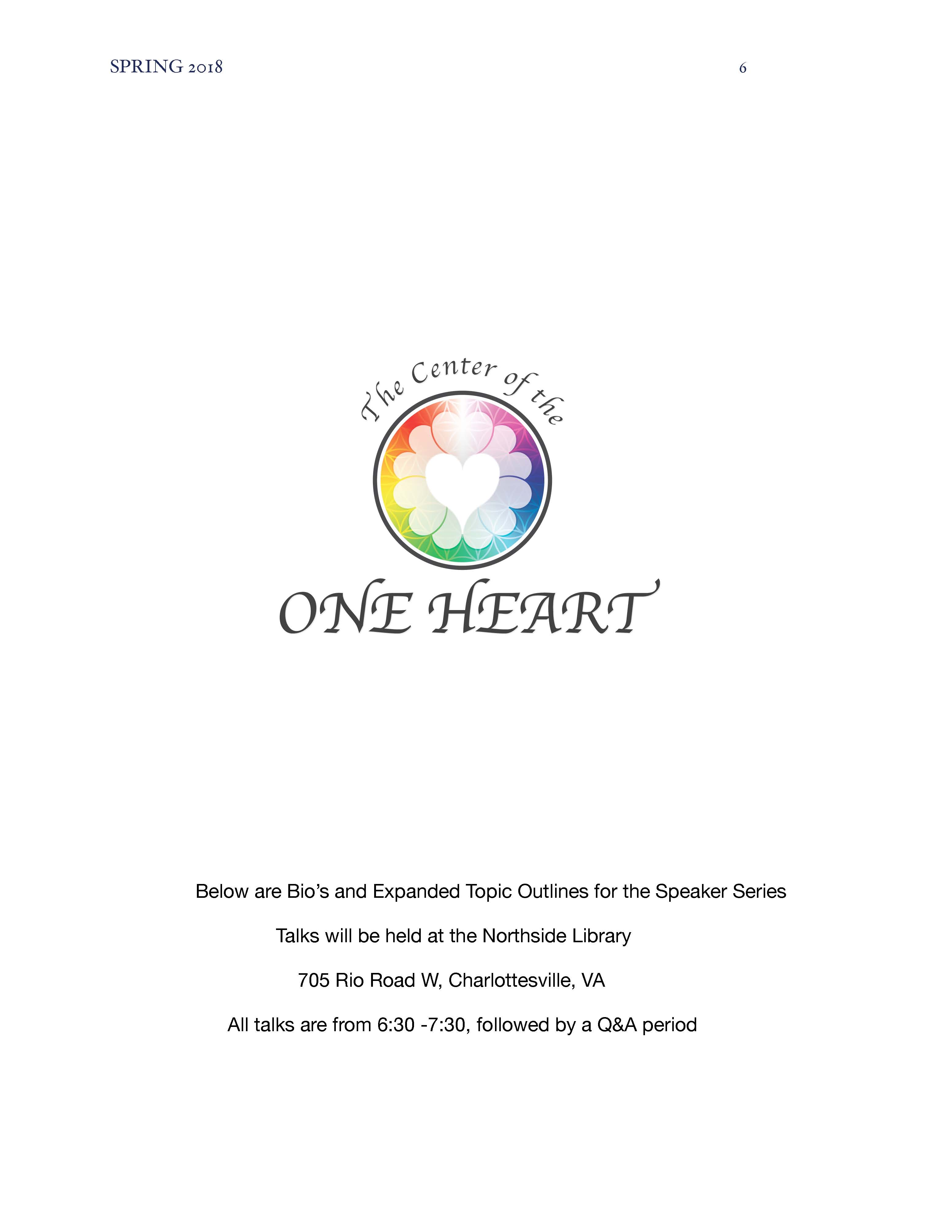 Spring 2018 Newsletter   The Center of the One Heart